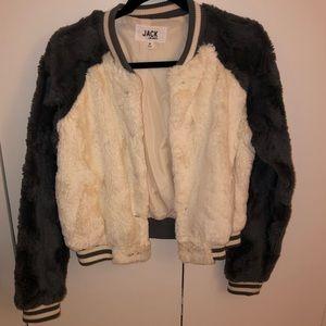 Worn Once Furry Grey and White BB Dakota Jacket